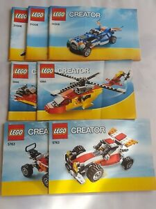 3X LEGO CREATOR 5763/5866/31008 Instruction Manuals 7 Booklets (NO BRICKS)