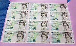 1997 12X Uncut Sheet United Kingdom £5 Note HK97 Commemorative Banknote Currency