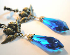Vtg Raw Brass Earrings Art Nouveau Angels Aquamarine Czech Glass Drop Handmade