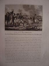 Gravure du Maréchal MACDONALD  Duc de Tarente Né à Sedan  Napoléon Bonaparte