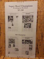 The Washington Post Superbowl XXII Champion Redskin's Printing Plate