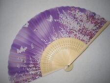 Fächer Handfächer Seidenfächer Blumen Schmetterlinng aus Bambus und Seide Lila