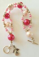 New Handmade Pink Glass Pearl Beaded Bracelet With Toggle Clasp and Angel Charm.