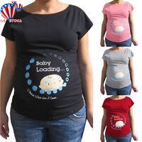 US Pregnant Womens Maternity Tee T-shirt Short Sleeve Tops Mom Pregnancy Blouse