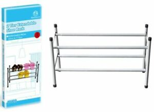 2 Tier Chrome Frame Stackable Extendable Shoe Rack Storage Organiser