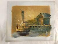 Mid Century Impressionist Original Art Oil Painting Boat Sunset Signed HILL Vtg
