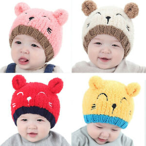 Cartoon Cute Newborn Baby Knit Hat Thick Warm Soft Winter Beanie Cap Boys Girls