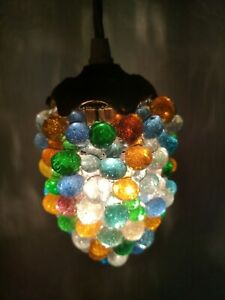 ANTIQUE FRENCH MULTICOLOUR HANDBLOWN GLASS GRAPE PENDANT HANGING LIGHT LAMP
