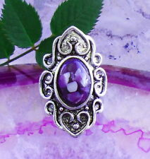 Ring Vintage Style Tibet Silver Shield-Shaped Purple Shell Pearl in Resin