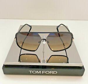 TOM FORD WARREN-02 SUNGLASSES TF867 01B SHINY BLACK/GOLD DETAIL 63MM-12MM