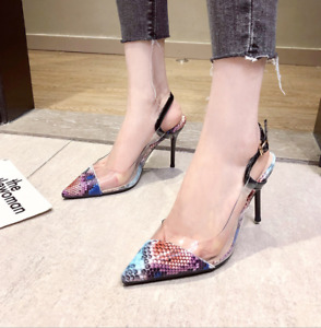 Sexy Womens Snake Print Stiletto High Heels Pvc Shoes Pointed Toe Buckle Sandals
