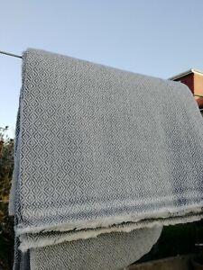 Cashmere Blanket Throw Travel Wrap Handmade NEPAL Home bed greyish diamond weave