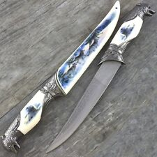 "13"" ARCTIC WOLF HEAD DAGGER KNIFE w/ COLLECTOR'S SHEATH Fantasy Steel Hunting"