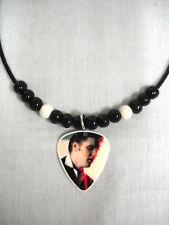 1956 ANGELIC COLOR ELVIS PRESLEY PHOTO GUITAR PICK PENDANT ADJ BEADED NECKLACE