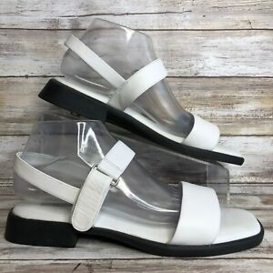 Feather Lite Womens 10W White Leather Sandal Hook & Loop Adjustable Strap Casual