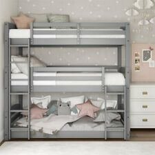 Gray Finish Wooden Twin Over Twin Triple Bunk Beds Convertible Sleeps 3 Kids