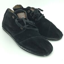 Toms Womens Chukka Boots Black Lined Cap Toe Lace Up Low Top 11 New