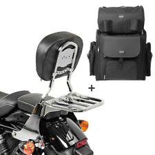 Sissybar sb1 + bolsa popa para Harley sportster 883 low 04-10 portaequipajes cromo