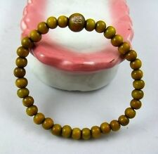6mm Tibetan Green wood Prayer Buddha carved Beads Amulet elastic Bracelet