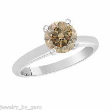 Platinum Champagne Brown Diamond Solitaire Engagement Ring 1.01 Carat Certified