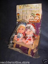 TWIN DOLL ON PARK CHAIR MISS PETTICOAT STYLE MAMBOLINE CON PANCHINA IN LEGNO
