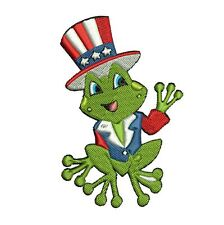 4th JULY FROGGIES - 10 MACHINE EMBROIDERY DESIGNS - 3 SIZES