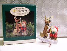 Hallmark Fishing For Fun Collector's Club Ornament 1995 Santa Reindeer Mib Clip
