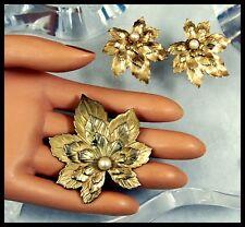 Large Vintage Gold Gilt Maple Leaf Brooch Pin & Clip Earrings Set Genuine Pearl