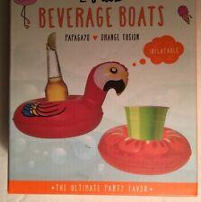 Beverage Boats Macaw Parrot Orange Pool Floats Inflatable Drink Holder 2-Pack