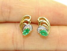 Genuine Natural Emerald & Diamond Solid 14k Yellow Gold Vintage Earrings .5 TCW