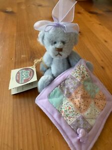 Cottage Collectables LILAC Bear with Quilt with Elephant Button - Fully Jointed
