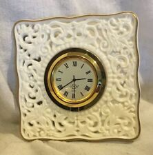 Lenox Desk Top Quartz Clock Ceramic Knitted Design 24kt Gold Trim *New Battery