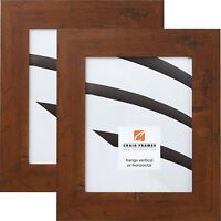 "Craig Frames Bauhaus, 2"" Modern Dark Walnut Brown Picture Frame, 2-Piece Set"