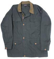 Patagonia Mens Jacket L Dark Green Brown Cargo Pocket Safari Chore Coat C429
