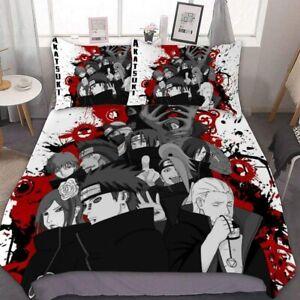 Naruto0 Akatsuki 3PCS Anime Bedding Set Duvet Cover Pillowcases Comforter Cover