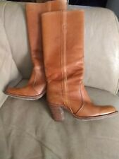 Vtg Frye USA Women's Sz 9 Tan Leather Tall Riding Wooden Heel Boots