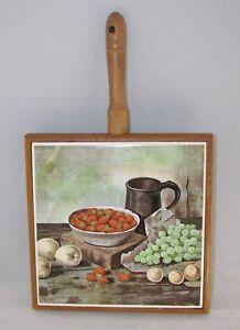 """Ceramic Tile & Wood Vintage Trivet w/ Handle STILL LIFE 6 1/2"""""""