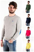 Maglione cotone U. S. Polo Assn. toppe maglioncino uomo primavera 38337 slim