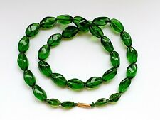 """15ct Gold Clasp Graduated Bead Necklace Antique 21"""" Czech Green Clear Glass"""
