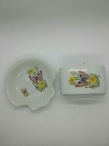 Pink Butterflies And Daffodils Soap Dish And Tooth Brush Holder Made In Japan