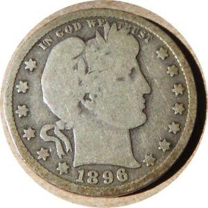 elf Barber Quarter Dollar 1896 O