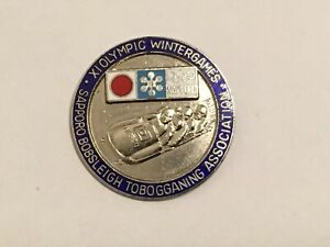 1972 SAPPORO OLYMPIC PIN BADGE JAPANESE BOBSLEIGHS ASSOCIATION PINS