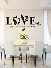 Art Design Decal Wall Stickers 3D Love Wall Stickers Room Decor Black 1Set