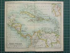 1904 SMALL MAP ~ WEST INDIES & CENTRAL AMERICA ~ JAMAICA CUBA HAYTI PANAMA