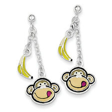 925 Sterling Silver Polished Enameled Monkey Face & Banana Dangle Post Earrings
