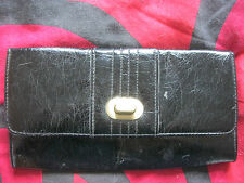 LADIES DOROTHY PERKINS SHINY BLACK CLUTCH BAG . 10 x 5 1/2 inches.