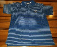 Ashworth Men's Polo Golf Shirt Large blue striped US Open 2006 Winged Foot