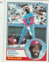FREE SHIPPING-MINT TO NRMINT-1983 Topps #615 Garry Maddox Phillies +BONUS CARDS