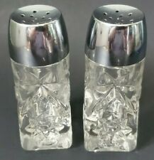 Early American Prescut Glass Salt and Pepper Shakers Vintage  Anchor Hocking