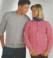 "Ladies, Mens Sweater and Cardigan Knitting Pattern DK 32-42"" 1032"
